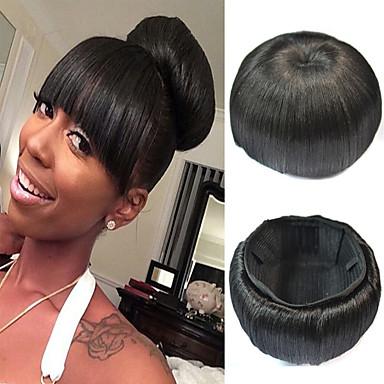 mariée mariage updo chignon clip bun synthétiques extensions de cheveux  droites noir naturel