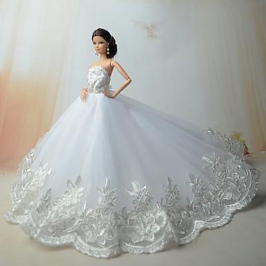 Wedding dresses for barbie doll silver white dresses for Vintage kleider kinder