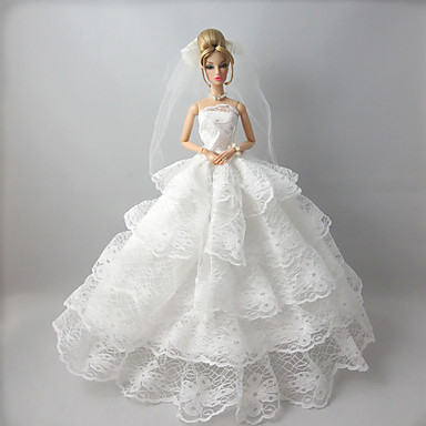 Wedding dresses for barbie doll white lace dresses for for Barbie wedding dresses for sale