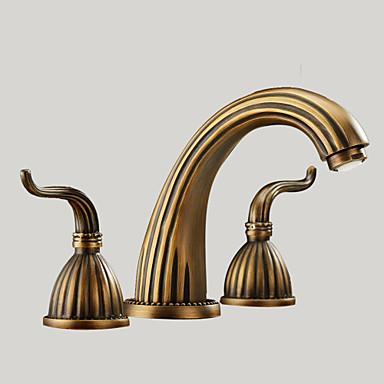 Antique Widespread Two Handles Three Holes In Antique Brass Bathroom Sink Fau