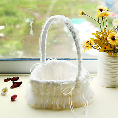 White Heart Shape Lace Decoration Flower Basket For Wedding Party1724cm 5152780 2017 1499