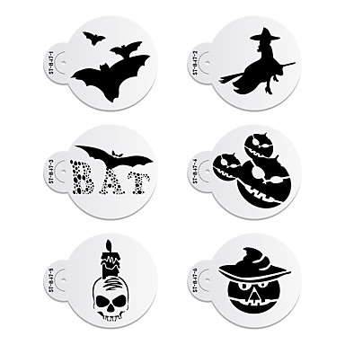 Halloween Cake Decorating Templates : 6Pcs Halloween Cookie Stencil Cake Stencil Cake decorating ...