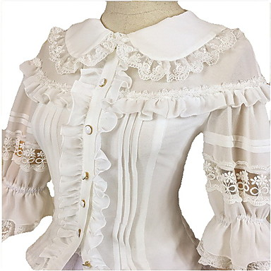 Buy Blouse/Shirt Sweet Lolita Cosplay Dress White / Black Solid 3/4-Length Sleeve Women FRP