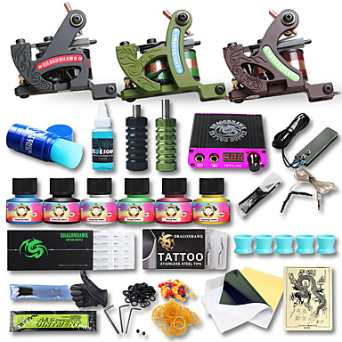 Professional tattoo kit 3 cast iron machine liner shader for Starter tattoo kits