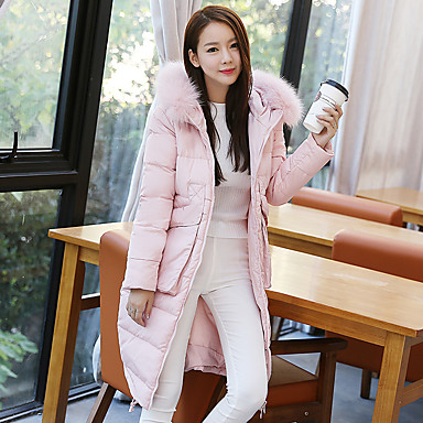 Women's Solid Pink / Black / Gray Down CoatSimple Hooded Long Sleeve
