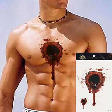 5pcs fake women men flower body arm chest blood hole for Fake wound tattoos