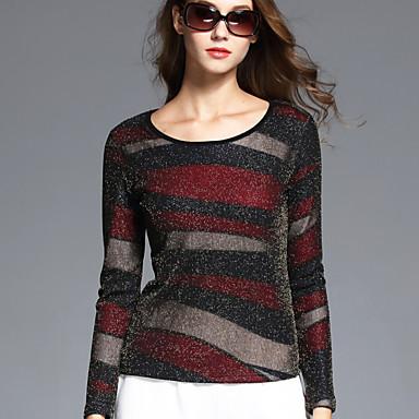 Bomovo women 39 s round neck long sleeve t shirt burgundy for Burgundy long sleeve t shirt womens
