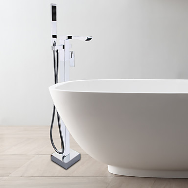 Contemporary Floor Standing Waterfall Bath Tub Shower Faucet Single Handle