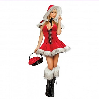 Adults womens v neck sexy christmas costume women s little red riding