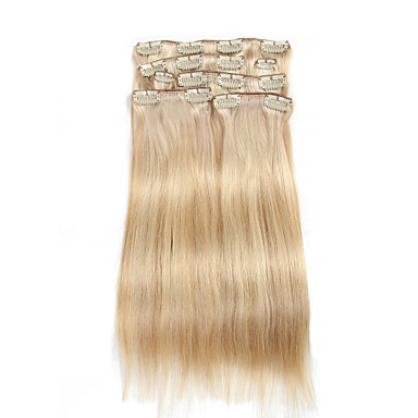 7 pcs set clip in hair extensions piano color mixed beige