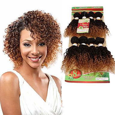 8inch 8 pcs lot brazilian deep curly virgin hair