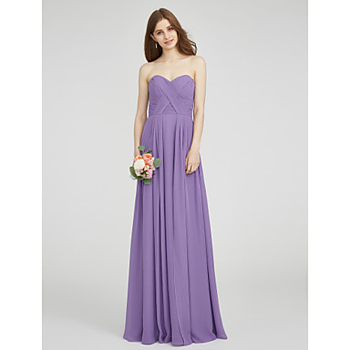 Lanting Bride® Floor-length Chiffon Bridesmaid Dress - A-line Sweetheart Plus Size / Petite with Criss Cross / Ruching