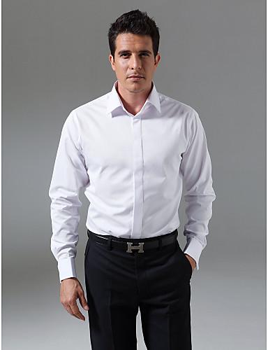 Custom Made Classic Spread Collar Fly Front Tuxedo Shirt