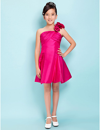 Buy Knee-length Taffeta Junior Bridesmaid Dress A-line / Princess One Shoulder Empire Flower(s) Criss Cross