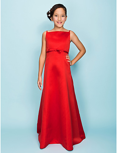 Buy Floor-length Satin Junior Bridesmaid Dress A-line / Princess Spaghetti Straps Natural Bow(s) Sash Ribbon