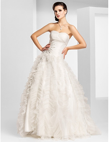 Buy Prom / Military Ball Formal Evening Dress - Ivory Plus Sizes Petite A-line Princess Strapless Sweetheart Floor-length Organza