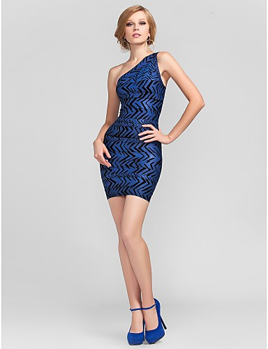Buy Cocktail Party Dress - Short Petite Sheath / Column One Shoulder Mini Rayon Bandage