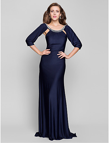 Buy TS Couture® Formal Evening / Military Ball Dress - Dark Navy Plus Sizes Petite Trumpet/Mermaid Scoop Sweep/Brush Train Jersey