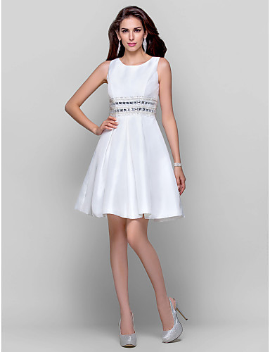 Buy TS Couture® Cocktail Party / Graduation Dress - Short Plus Size Petite A-line Ball Gown Jewel Mini Taffeta Beading Crystal