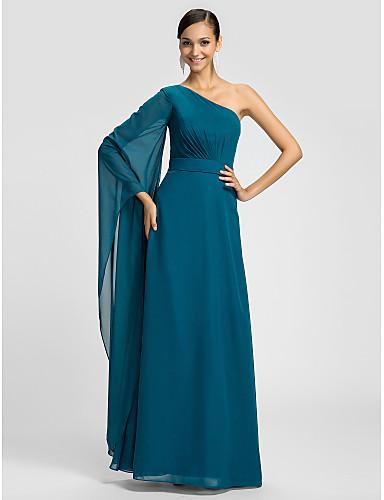 Длинное платье в пол из сиреневого шифона, одно плечо. Elegantnoe platye A-силуэт