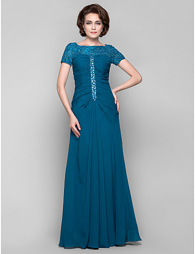 Buy Dress Plus Size / Petite Sheath Column Bateau Floor-length Chiffon Lace Beading Crystal Detailing Side Draping
