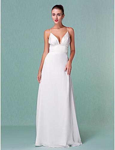 Buy Lanting Bride Sheath/Column Petite / Plus Sizes Wedding Dress-Floor-length V-neck Chiffon