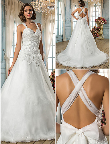 Buy Lanting Bride A-line / Princess Petite Plus Sizes Wedding Dress-Sweep/Brush Train Straps Organza