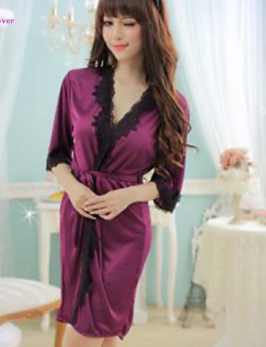 robe de chambre satin soie ultra sexy v tement de nuit femme mosa que dentelle polyester. Black Bedroom Furniture Sets. Home Design Ideas
