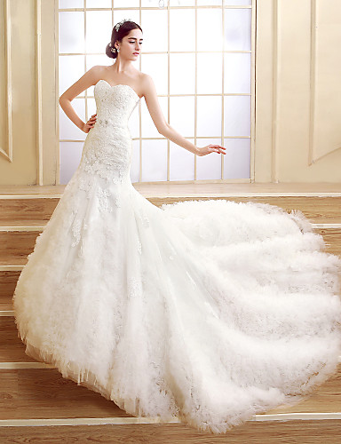 Trumpet Mermaid Petite Wedding Dress Court Train Sweetheart Tulle With 3382