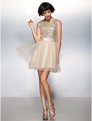 Buy TS Couture® Cocktail Party Dress A-line Scoop Short / Mini Tulle Sequined Sequins