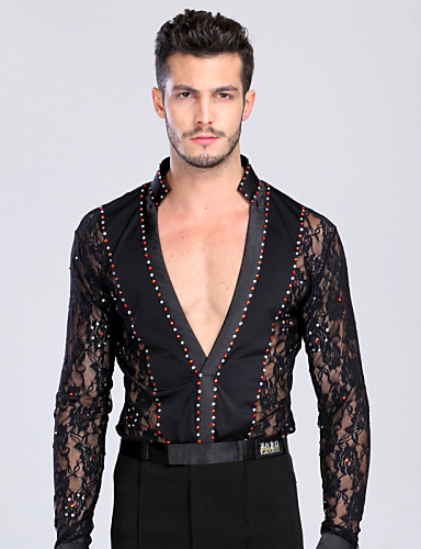 Buy Latin Dance Tops Men's Performance Training Chinlon Lace Crystals/Rhinestones 1 Piece Long Sleeve TopM:165-170 L:170-175 XL:175-180