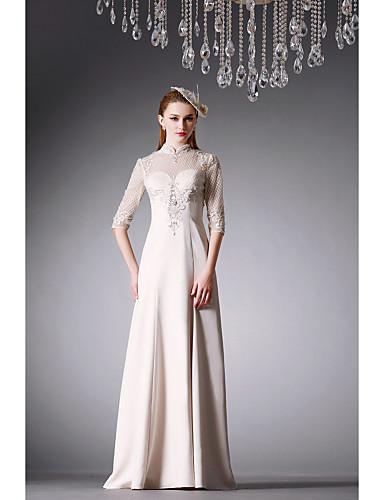 Buy Formal Evening Dress - Ivory A-line High Neck Floor-length Satin