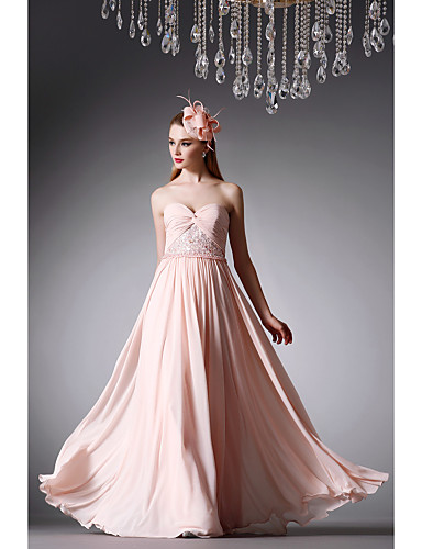 Buy Formal Evening Dress - Pearl Pink A-line Strapless Floor-length Chiffon