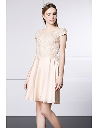 Buy Cocktail Party Dress - Champagne A-line Scoop Short/Mini Lace / Satin