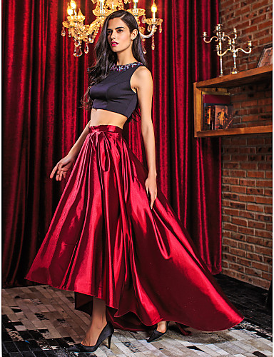 TS Couture® Prom Formal Evening Dress - Two Pieces A-line Jewel Asymmetrical Stretch Satin with Beading