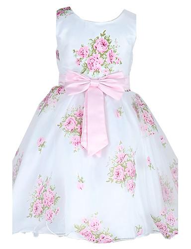 Buy 2~9 Years Toddler Girl's Sleeveless Princess Dress Flowers Print Bowknot Belt Party/Wedding Bridesmaid Dresses