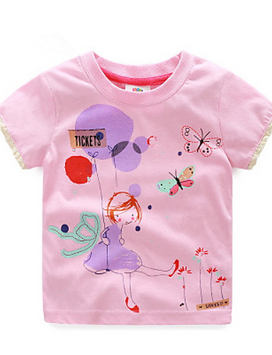 Buy BK 3-6 Y Girls Summer Cartoon Cute Cotton O-neck Short-sleeved T-shirt Tee