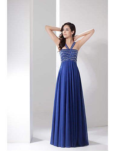 Buy Formal Evening Dress A-line Straps Floor-length Chiffon Beading