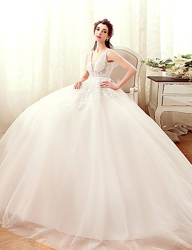 Buy A-line Wedding Dress Floor-length V-neck Tulle Appliques / Beading Pearl