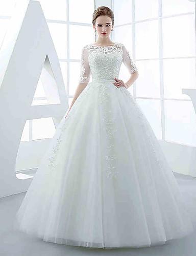 trap ze robe de mariage longueur sol bijoux tulle avec appliques perlage ceinture ruban de. Black Bedroom Furniture Sets. Home Design Ideas