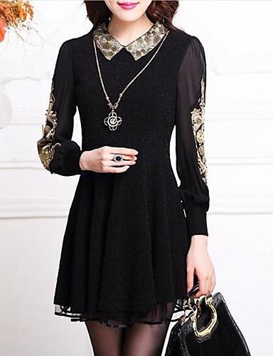 gaine robe femme d contract quotidien grandes tailles simple jacquard col de chemise au. Black Bedroom Furniture Sets. Home Design Ideas