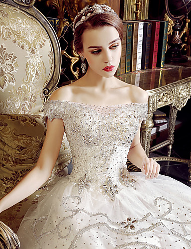 Buy A-line Wedding Dress Floor-length Off-the-shoulder Tulle Appliques / Crystal Ruffle