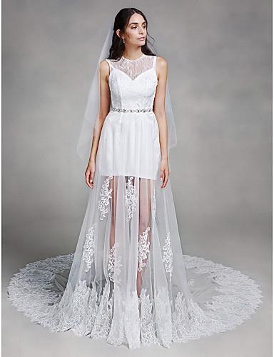 lanting bride trap ze robe de mariage tra ne chapelle bijoux dentelle tulle avec dentelle. Black Bedroom Furniture Sets. Home Design Ideas