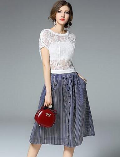 Buy Women's Simple Solid Loose Dress,Round Neck Knee-length Nylon