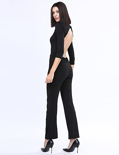 femme d coup ample droite combinaison pantalon sexy vintage soir e couleur pleine dos nu col. Black Bedroom Furniture Sets. Home Design Ideas