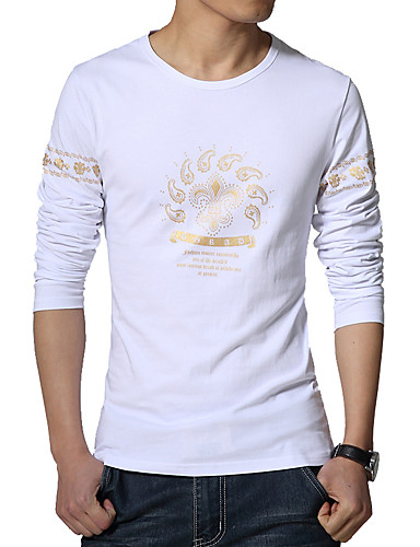 Men 39 S Fashion Slim Printed Long Sleeved T Shirt Print