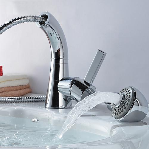 Inredning tvättställsblandare med dusch : Multifunktion Chrome Finish Pull Out Vridbar tvättställsblandare ...