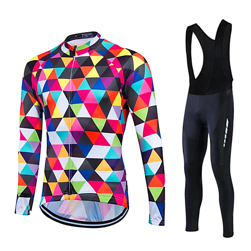 9f2746c8e Fastcute Men s Long Sleeve Cycling Jersey with Bib Tights - White Plus Size Bike  Clothing Suit Thermal   Warm Fleece Lining Breathable 3D Pad Quick Dry ...