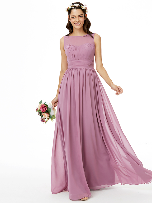 1a7d480f1f85 A-Line Jewel Neck Floor Length Chiffon Bridesmaid Dress with Sash / Ribbon  Pleats Ruched by LAN TING BRIDE®