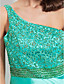 Sheath/ Column One Shoulder Sweep/ Brush Train Stretch Satin Evening/Prom Dress